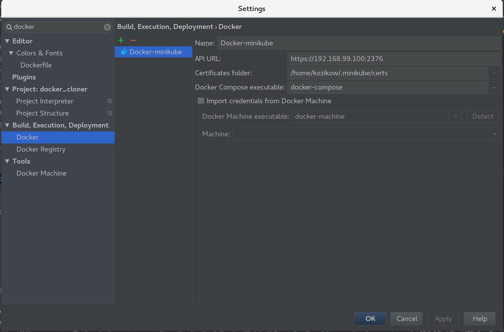 Using PyCharm docker integration with minikube – Robert Kozikowski's